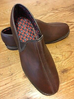 Vintage New Old Stock Men's Gold Bond Brown Classic Smoking Slippers Size 9 EEE