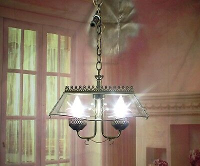 Antique Vintage Chandelier Fixture 2 Light Pendant Petite Etched Glass Rewired