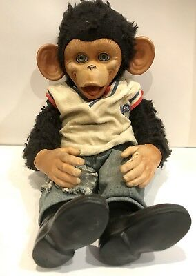 Vintage 1950's Gund Monkey Chimpanzee Plush Doll Rubber Face, Hands, Shoes