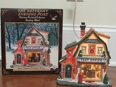 Norman Rockwell Post Office Sorting Mail Christmas Holiday Village House Lighted