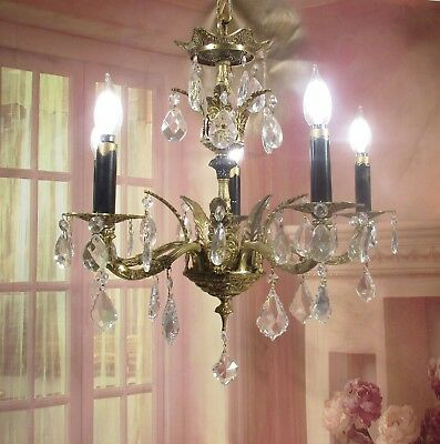 Antique Vintage Chandelier Bronze Ornate French 5 Light Fixture Crystals