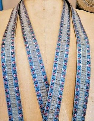 4 Vintage French c.1950's Rayon & Blue Metallic Trim ~ Tiny Pink Ombre Florals