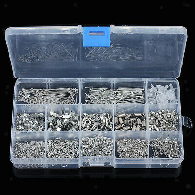 580pcs Jewelry Making Findings Supplies Jump Ring Lobster Clasps Kit White K