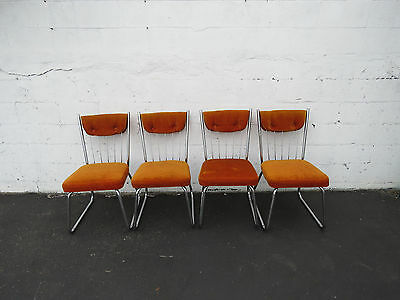 Mid Century Set of Four Vintage Chrome Dinning Room Chairs 8497