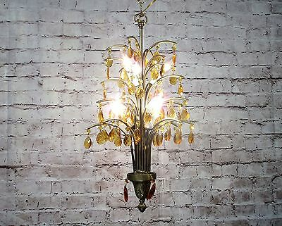 Antique Vintage Chandelier Palm Tree Amber Crystals Rewired 8 Light Fixture 2avl