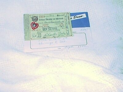 Moose Lodge Dues Receipt-Address Card-1950-Chicago,Illinois-Loyal Order