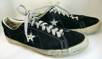 Vintage CONVERSE ONE STAR Shoes BLACK SUEDE Assembled in USA Size13 As Found