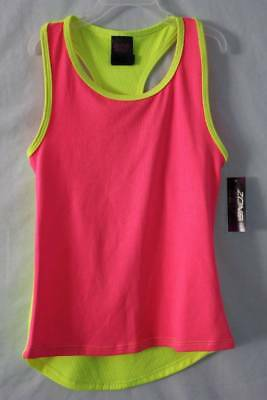 NEW Girls Hi-Low Tank Top Small 6 6X Pink Yellow Micro Mesh Back Athletic Shirt
