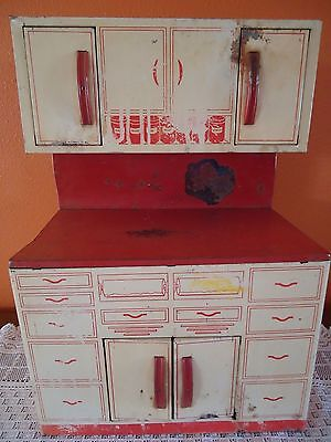 WOLVERINE Child's Doll Toy KITCHEN CUPBOARD Cabinet Antique Tin Litho Metal