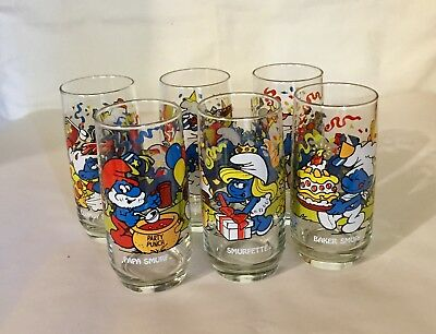 1983 Smurf Glasses Complete Set of 6