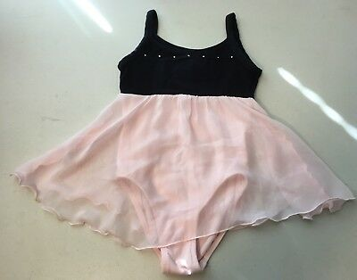 Danskin Girls Dance Leo With Attached Skirt Size 6/6X Pink & Black
