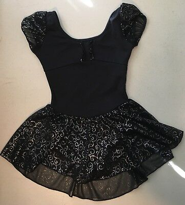 Capezio Girls Dance Leo With Attached Skirt Size 6/6X Black With Silver