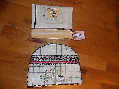 Tea Cozy Pair Handmade from Vintage Towel and Runner Hand Embroidered Nice!