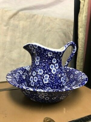 Calico Vintage Crownford China Staffordshire England Pitcher & Bowl Blue/White