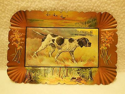 Antique Advertising Hunting Dog Tip Tray Spring - Holzwarth Co Big Store Nice!!