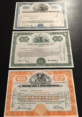 Vintage Lot 20 of Stock Certificates  Dating 1952 – 1979