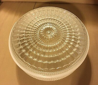 Vintage Round Globe Ceiling Light Fixture Shade Ribbed Frosted White Clear