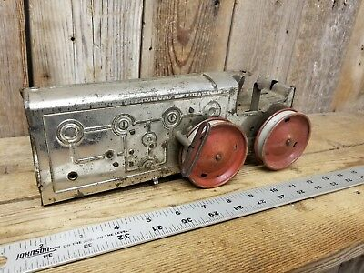 Antique Old Vintage Louis Marx Windup Steam Engine Tractor Toy Primitive Farm