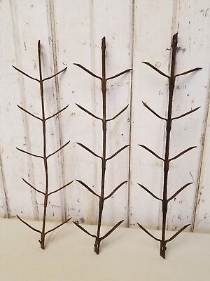 3 Antique Hanging Corn Drying Spikes ~ Vintage Primitive Farm Tools Wall Hooks