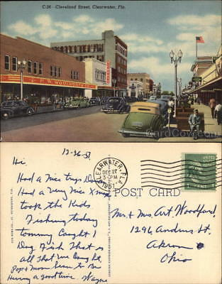 1951 Clearwater,FL Cleveland Street Teich Pinellas County Florida Postcard