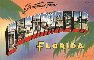 Clearwater,FL Greetings from Clearwater,Florida Tichnor Pinellas County Postcard
