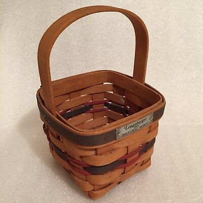 "Longaberger 1993 Inaugural Basket With Multi-colored Weave 5""x5""x8"" Pres Clinton"