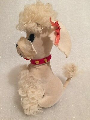 Vintage Poodle Dog by Dream Pets Dakin White with Red Collar Valentine