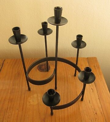 VINTAGE MID-CENTURY SIX ARMS WROUGHT IRON CANDELABRA - for 1/2 in. taper candles