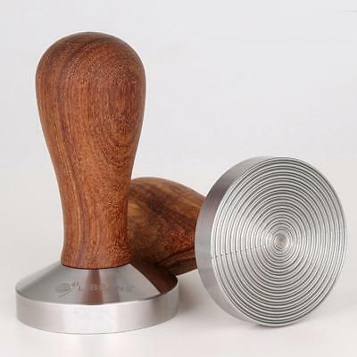 Stainless Steel Espresso Coffee Bean Tamper Press Tool Wood Handle 58mm Base