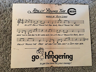 "CINCINNATI REDS 1950s 60s 5x6"" KROGERS RALLY ROUND THE REDS SONG SHEET Vintage"