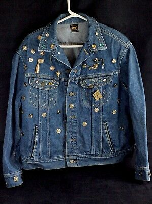 Vintage Lee Rider Jacket Customized Paint Los Angeles Plus Pins Brooches