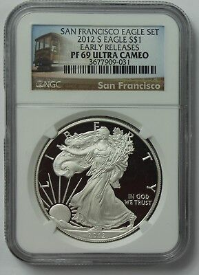 2012-S American Silver Eagle NGC PF69 Ultra Cameo ASE Early Releases San Fran PF