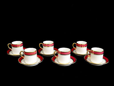 Royal Chelsea Demitasse Cups & Saucers Made in England Set of 6 Mint!