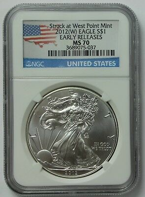 2012-W American Silver Eagle NGC MS70 ASE Early Releases West Point Mint Bullion