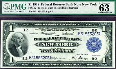 HGR SATURDAY 1918 $1 FRBN ((Green Eagle)) PMG CHOICE UNC 63 (Great Embossing)