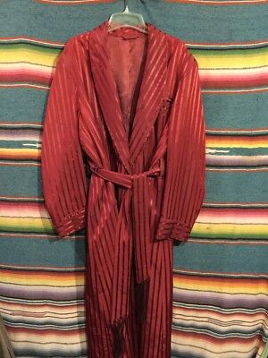 Vintage 40's -50's Hugh Hefner Striped Satin Robe Smoking Jacket Size Large -XL