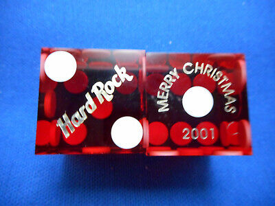 Pair of HARD ROCK (Merry Christmas 2001) LV Casino Dice - Clear Dark Red, No #s