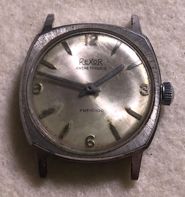 Vintage Rexor Men's Watch Parts/Repair 17 Rubis Jewels Ancre Antichoc Silver