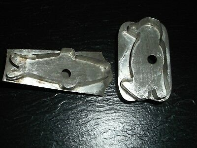 Lot of 2 Soldered Antique Primitive Vintage Tin Cookie Cutters Fish & Penguin