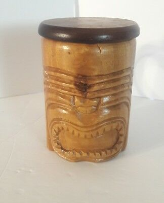 Hand Carved Wood Tiki Face Mug with Lid Made In The Philippines Bar Drinks
