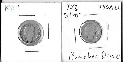 Lot of 2 Barber Dimes VG + 1907 1908 D both 90% Silver