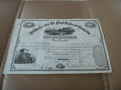 Scarce 1900 Issued Railroad Stock - Stillwater and St. Paul Railroad Company