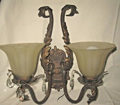 Pair Of French Style Acanthus Leaf Sconces With Prisms--Beautiful, Free Ship!