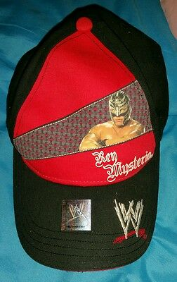 WWE Rey Mysterio red and black hat-excellent condition-worn once -OSFM
