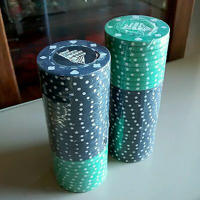 CUTTY SARK SCOTCH WHISKEY PROMOTIONAL CLAY COMPOSITE POKER CHIPS 59 pc LOT