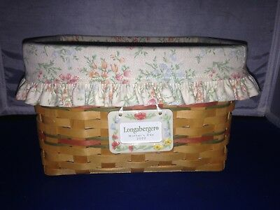 Longaberger MOther's Day 2002 Basket Combo Floral Liner/Protector/Tie On