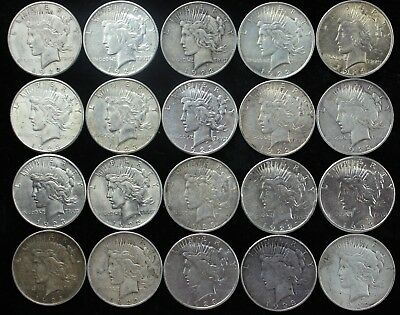 20x P D S Peace 90% Silver Dollar Lot Roll $20 Mixed $1 Dollars Old US Coins K5