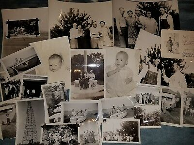Lot (100) 1940s old photographs, snap shots, family vacation, oil rigs, scenic +