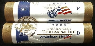 2009 Bicentennial Lincoln Cent P&D Mint Wrapped Rolls PROFESSIONAL LIFE LP3