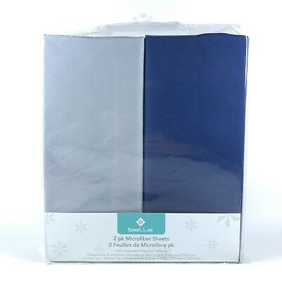 belle Crib Sheet Set 2 Pack 100% microfiber polyester for Baby boy FREE SHIPPING